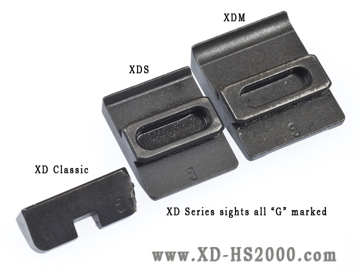 "From left to right: The factory rear sights on the Classic XD, XDS & XDM pistols. All of them are ""G"" marked rear heights. Even though they are different in shape they are all the same height."