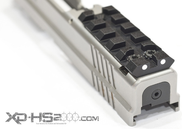 Secure the Sight Mount rail to your slide by tightening the screws to 12 inch pounds.