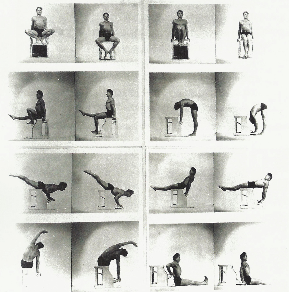 Joseph Pilates demonstrating on the Wundar Chair - note the similarity to some yoga asanas.