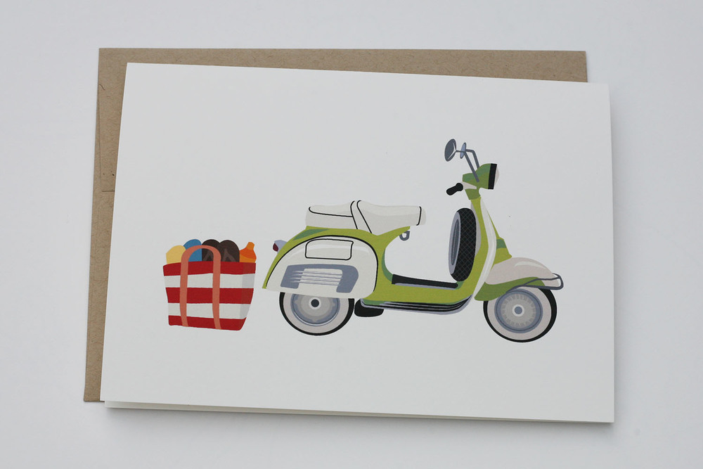 Beach Vespa Greeting Card