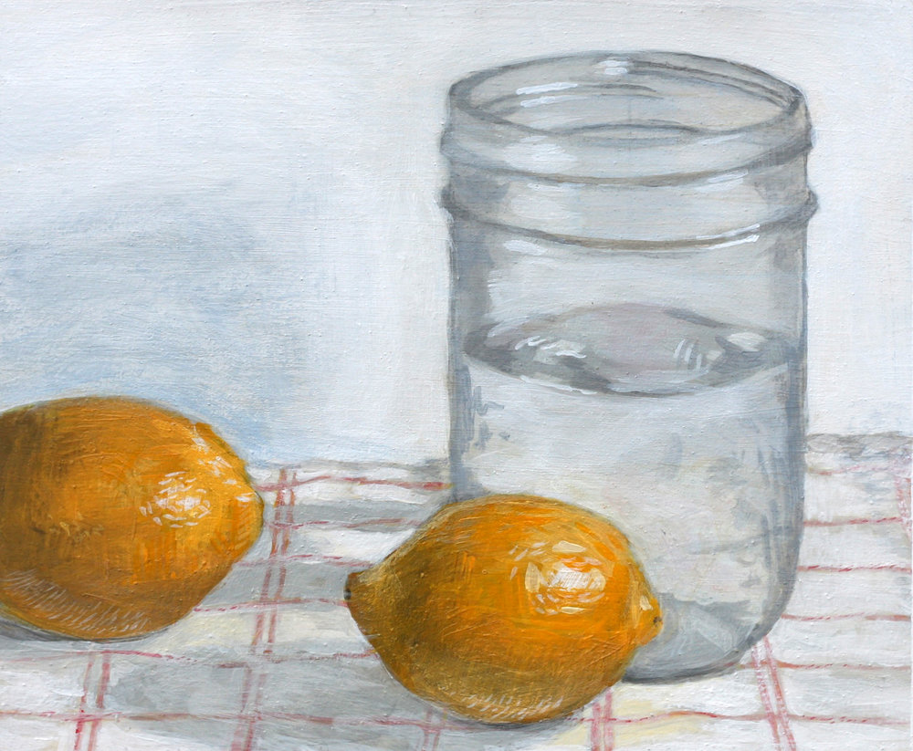 "Water and lemons, 8""x5"""