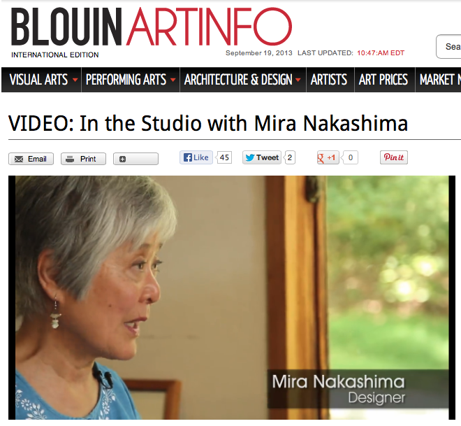 Check out  BlouinArtInfo.com  for Mira Nakashima video