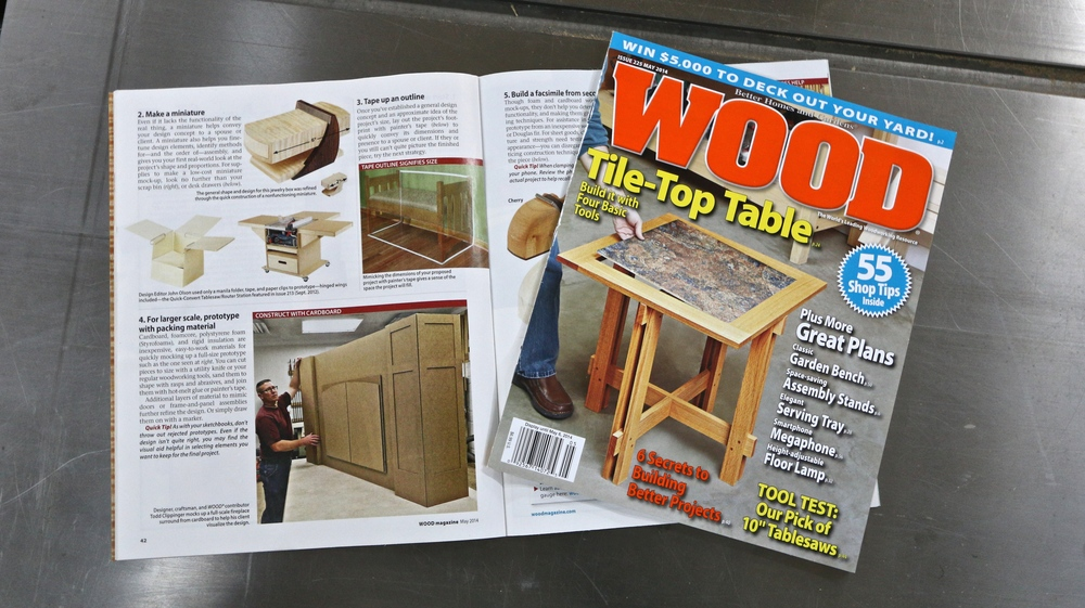 WOOD Magazine May 2014, Issue 225 Article on Designing & Prototypes