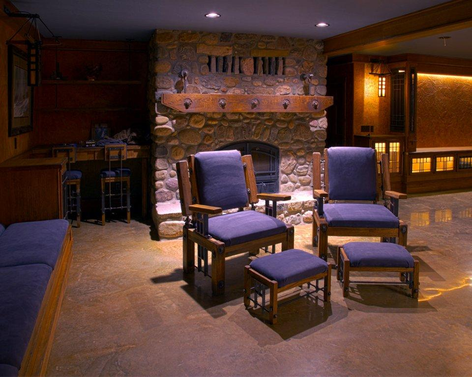 Fireplace Chairs, Bar Stools, Mantle, and Sconces by Andy Parent