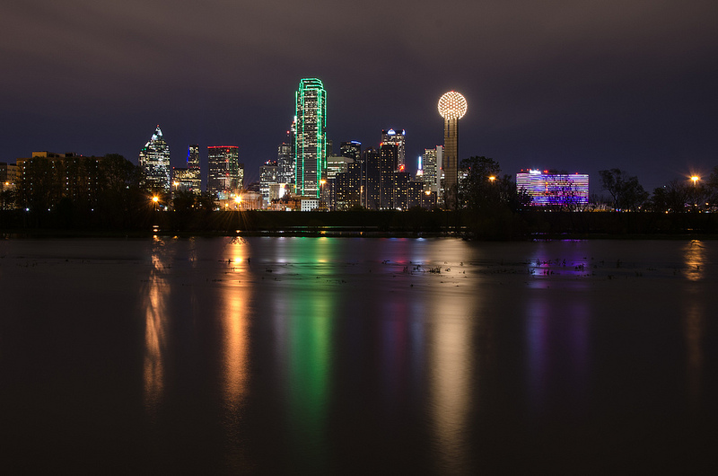 This shot of the Dallas Skyline, was taken just south of the Trinity Overlook Park. Most of the year the Trinity river is to low to get reflections, after it rained for a few days and the Trinity river filled up, I went out and took this shot.