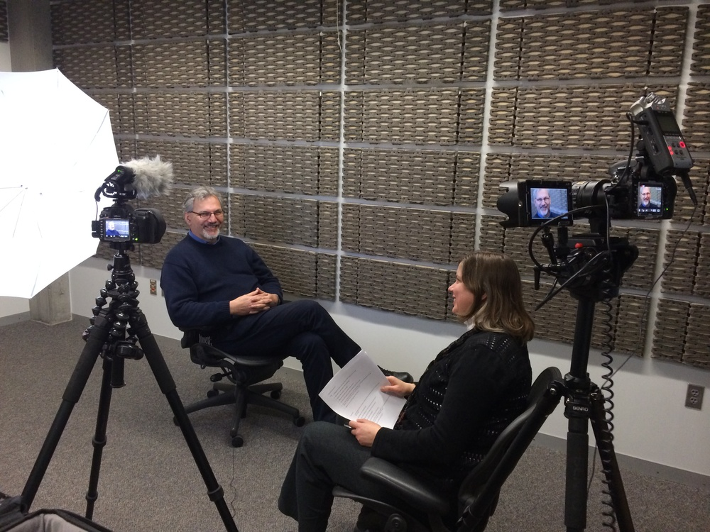 "John Kockeman being interviewed by Rosemary Dolata for ""The Search for Shelter Charrette"""