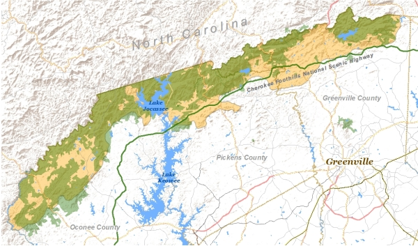 Blue Ridge escarpment of South Carolina. GREEN areas represent protected lands. TAN areas represent remaining unprotected tracts.