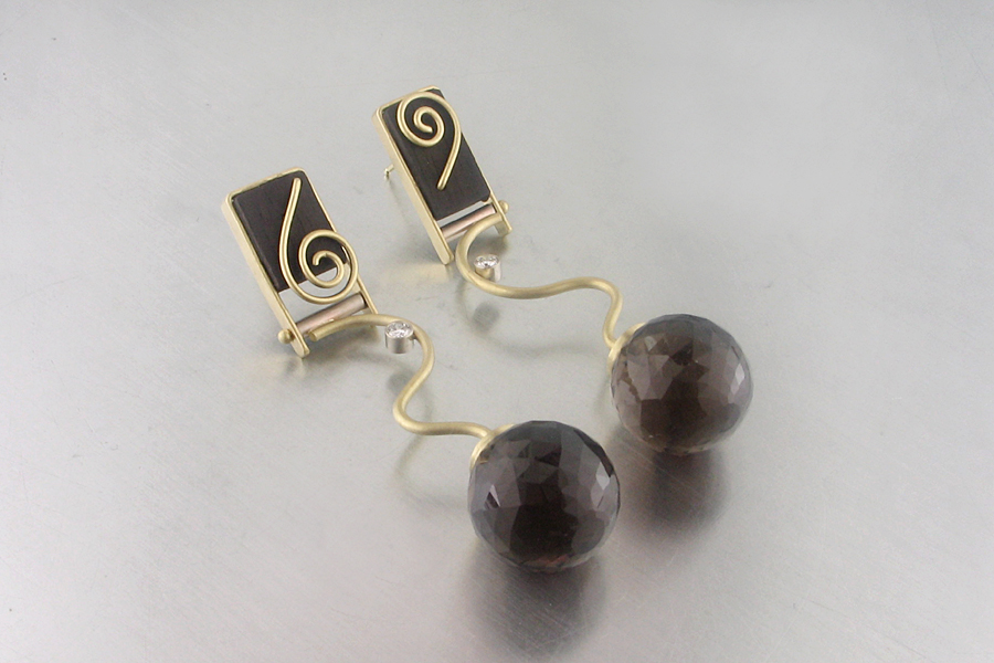 Style # 23310894: Faceted Smoky Quartz Disco Ball Beads Suspended from Earrings Composed of Carved Ebony, White Diamonds & 18kt Yellow Gold