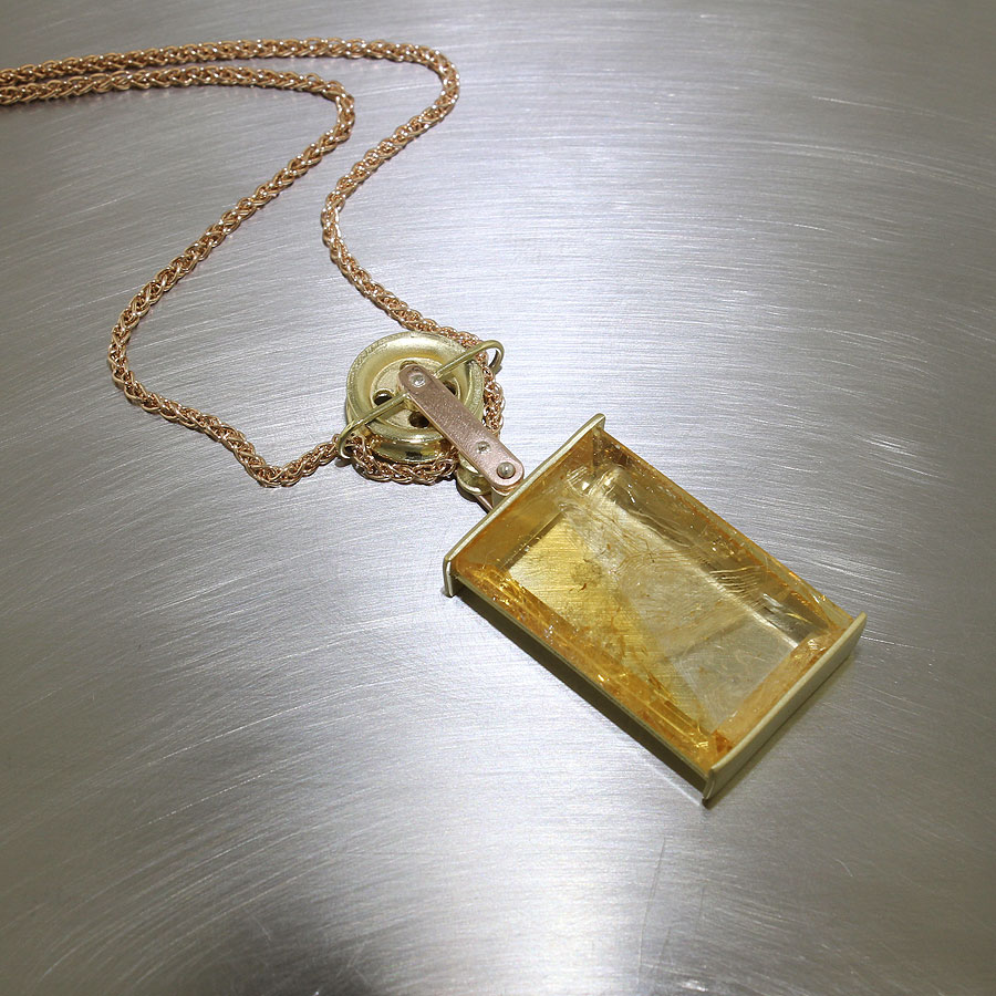 Style # 23410410: Citrine Pendant with Pulley Mechanism, 18ky & 14kt rose Gold
