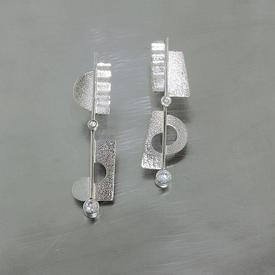 Item #22110531: Swinging Asymmetrical Diamond Earrings in 14KW Gold