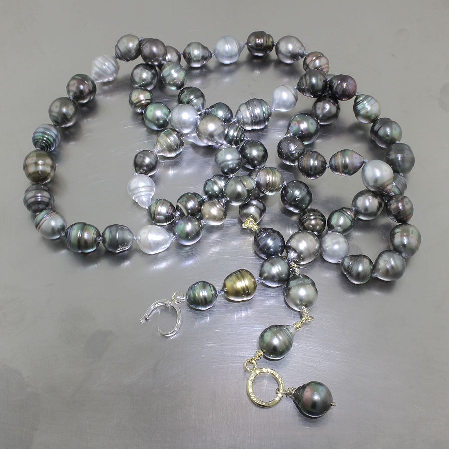 Item #24410095: 53-inch Multi-color Natural Tahitian Pearl Adjustable Strand, 18ky & 14kw Gold Clasp