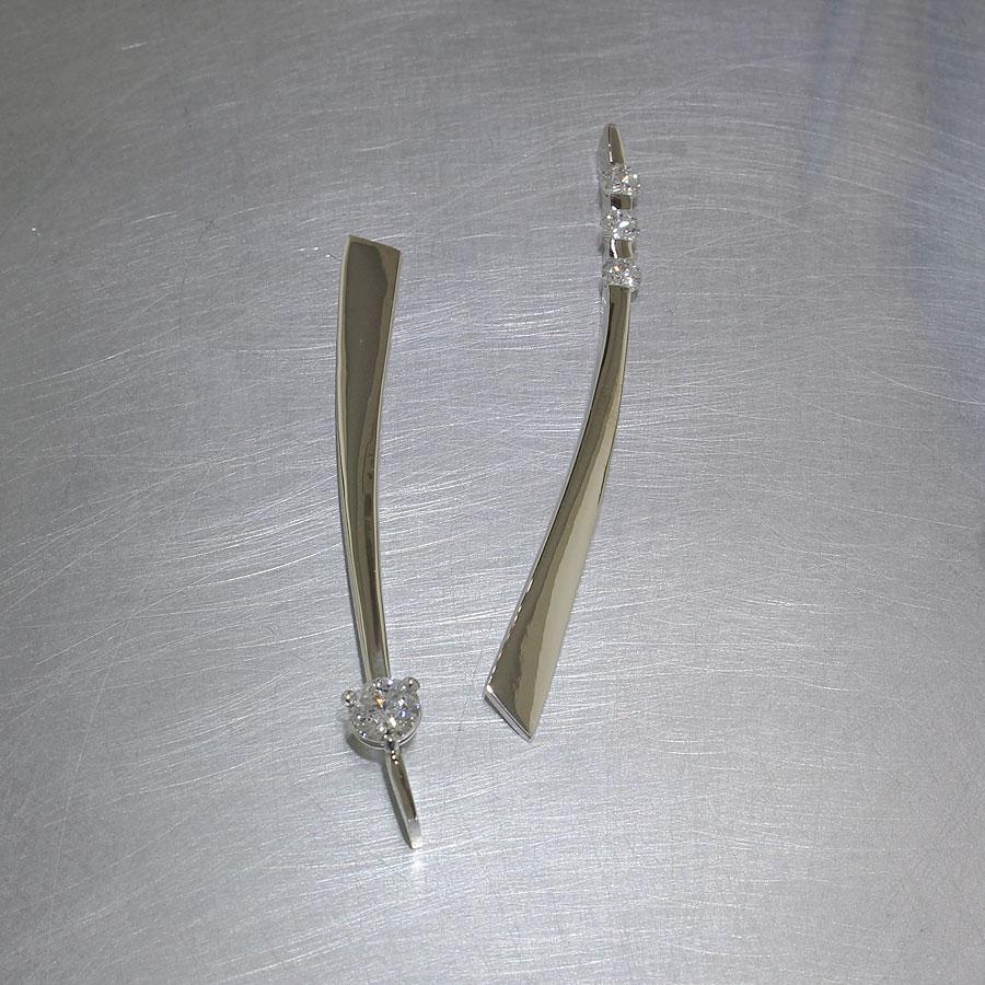 Item #22110533: Asymmetrical Tapered Diamond Stick Earrings, 14kt White Gold
