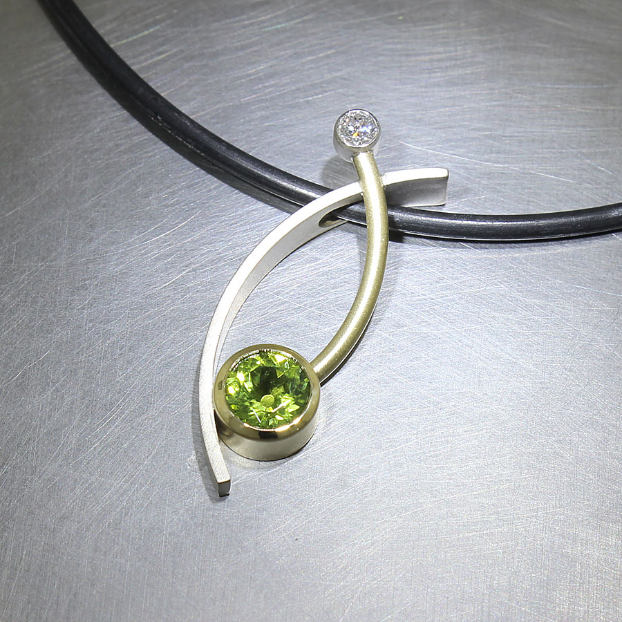 Item #23410441: Curved Sheet & Wire Pendant with Bezel-Set Peridot & Diamond, 18kt Yellow & 14kt White Gold
