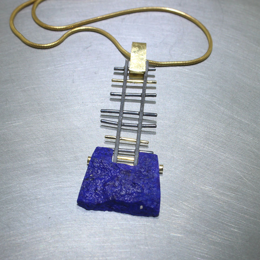 Item # 23410426 – rough lapis lattice pendant, 18KY gold, oxidized sterling silver