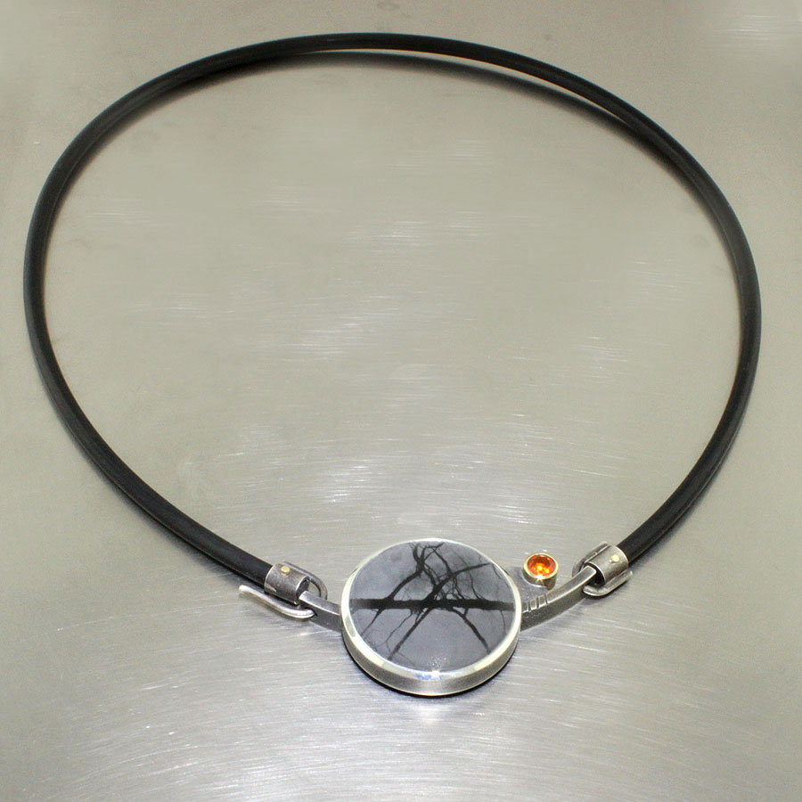 Item # 23710298 - necklace with jasper, fire opal, 18KY, SS, neoprene collar
