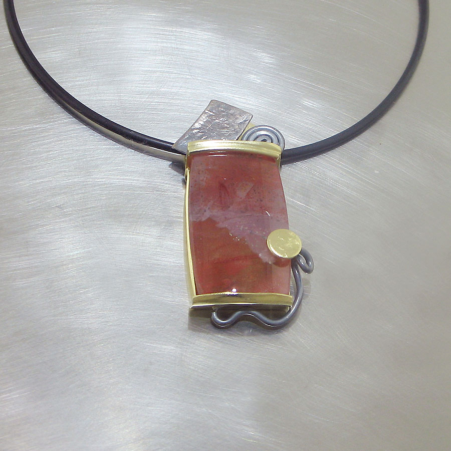 ITEM #23410427: POLISHED DENDRITIC QUARTZ IN MODERN TEXTURED TWO-TONE PENDANT, 18KT YELLOW GOLD & OXIDIZED STERLING SILVER
