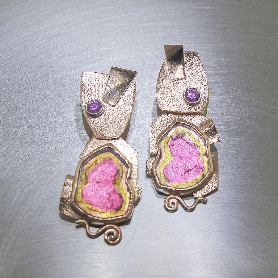 Item #23310910 - 14K Rose Gold Watermelon Tourmaline Earrings