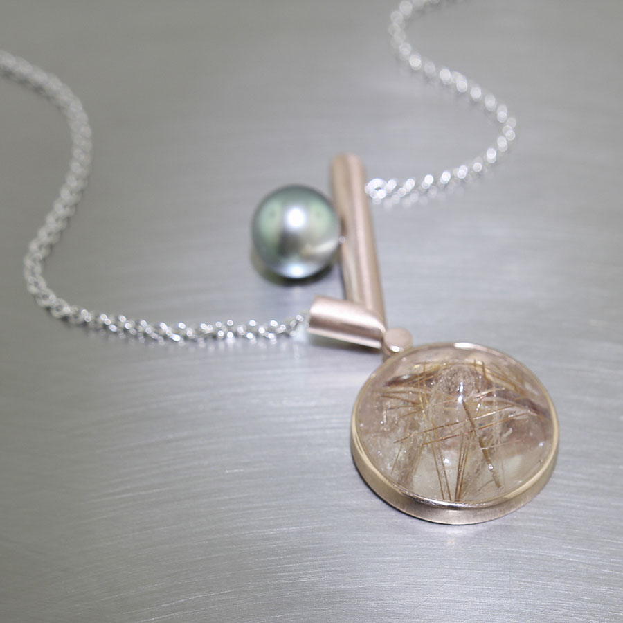 Item #23410437: Warm Rutilated Quartz Pendant with Tahitian Pearl Accent, 14kt Rose Gold