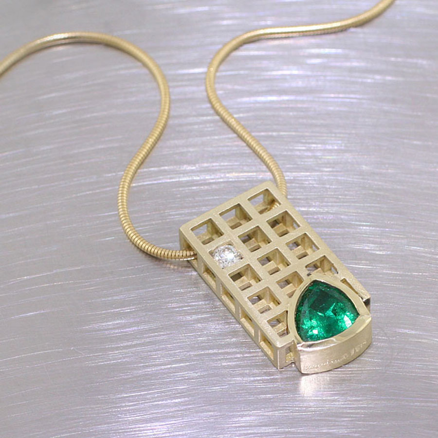 Style # 26810021: Trillion-Cut Emerald Grid Pendant with Contrasting White Diamond, Matte-Finish 18kt Yellow Gold