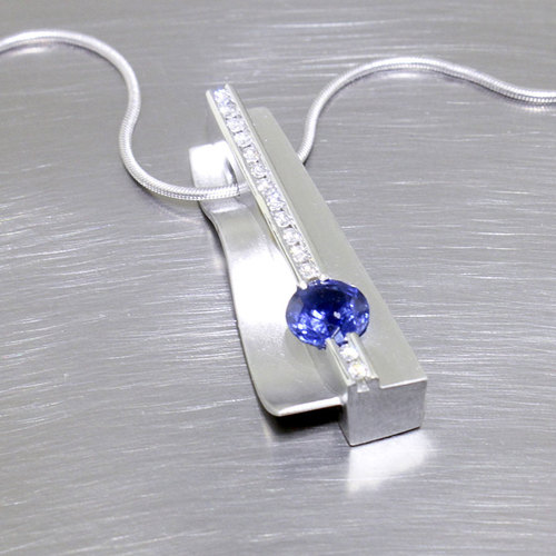 ITEM # 22810144 - Asymmetrical Sapphire Pendant with Central Line of Channel-Set Diamonds, Platinum