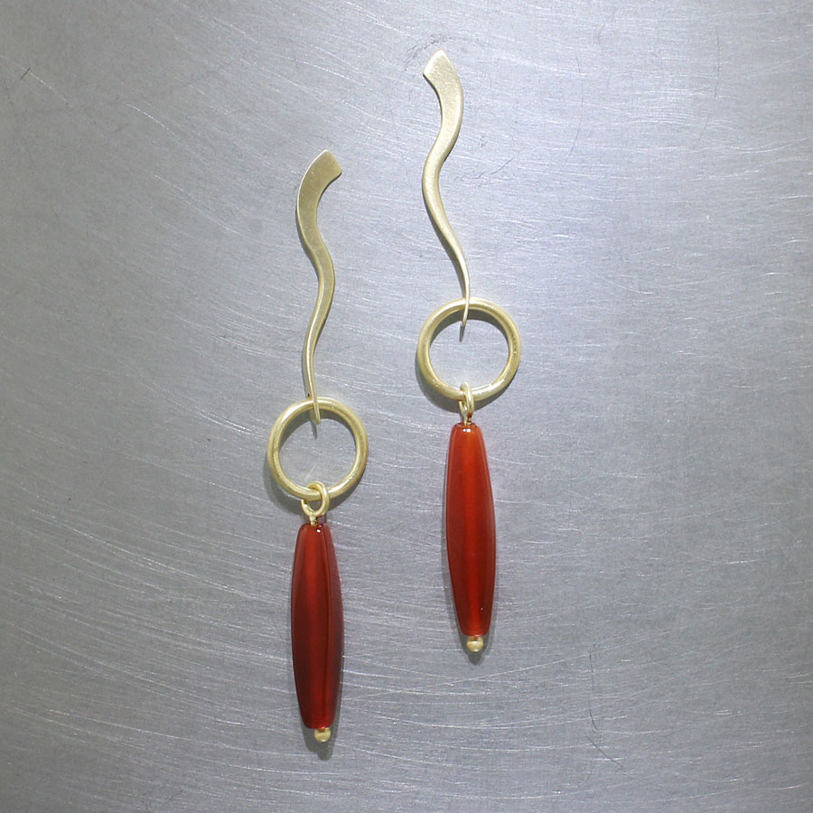 Item #23310912: Curved Forged Wire Earrings with Carnelian Marquise-Shape Drops, 18kt Yellow Gold
