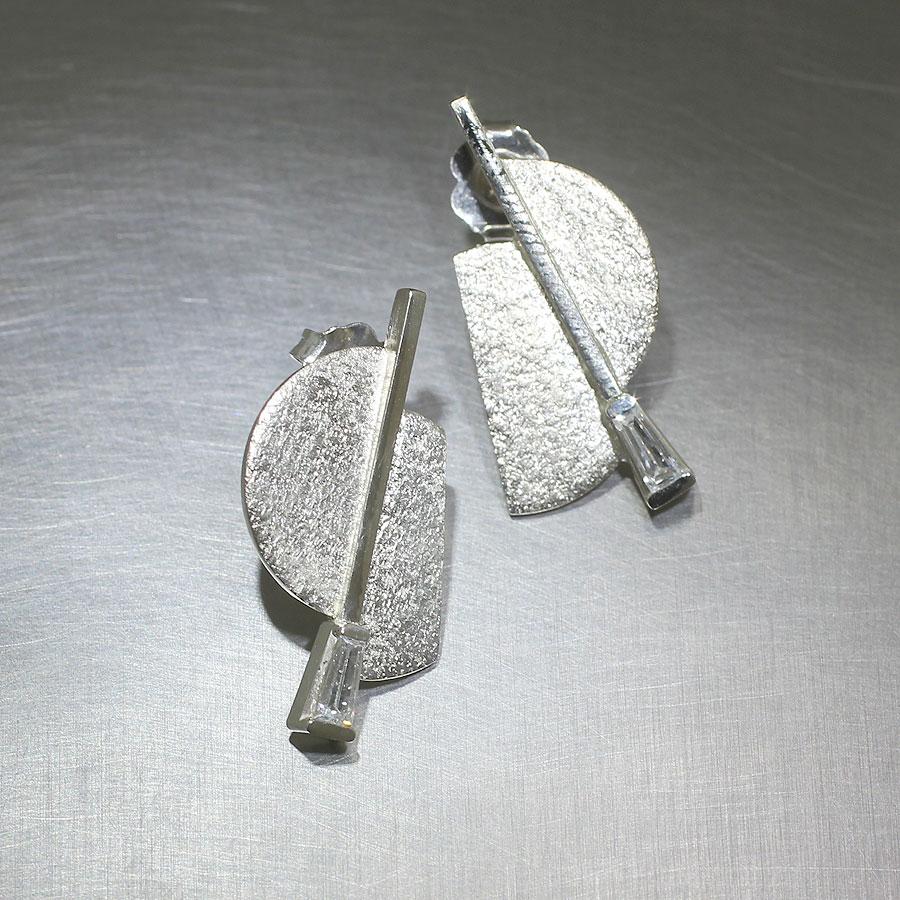 Item #22110529: Geometric Tapered Baguette 0.25ct Diamond Earrings, 14kt White Gold