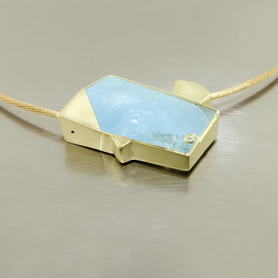 Item #23410423: Modern, Sculptural Yellow Gold Pendant with Natural, Slightly Irridescent Aquamarine Slice