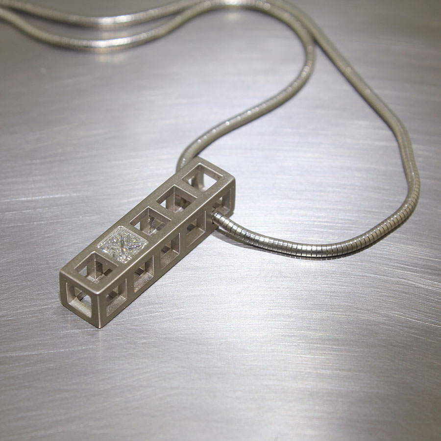 Item #22210290: Structural Matte-Finish Grid Pendant with 0.51ct Princess-Cut Diamond, 14kt White Gold