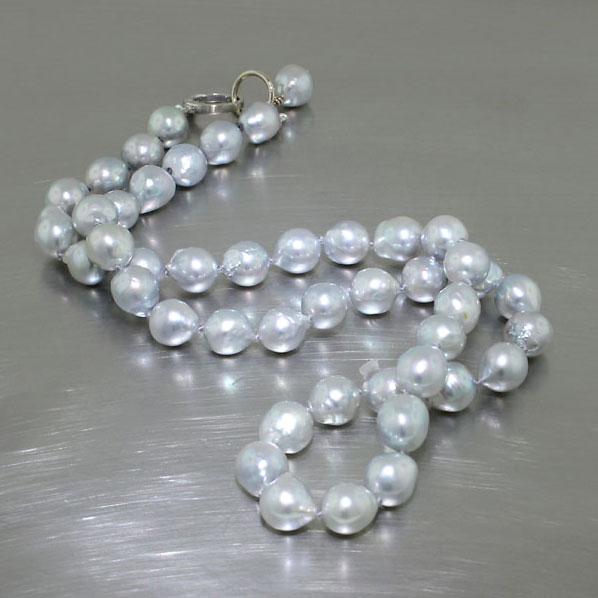 "Item #25610027: Silvery-Blue Strand of Natural Akoya Pearls, 19"" including 14kt White Gold Clip Clasp"