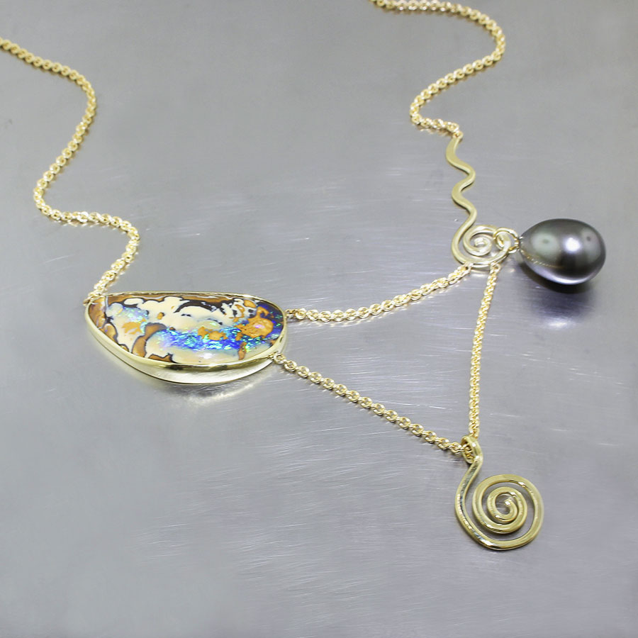 Item #26510032: Boulder Opal and Tahitian Pearl Lavalier Necklace with Gold Spiral Drop, 18kt Yellow Gold