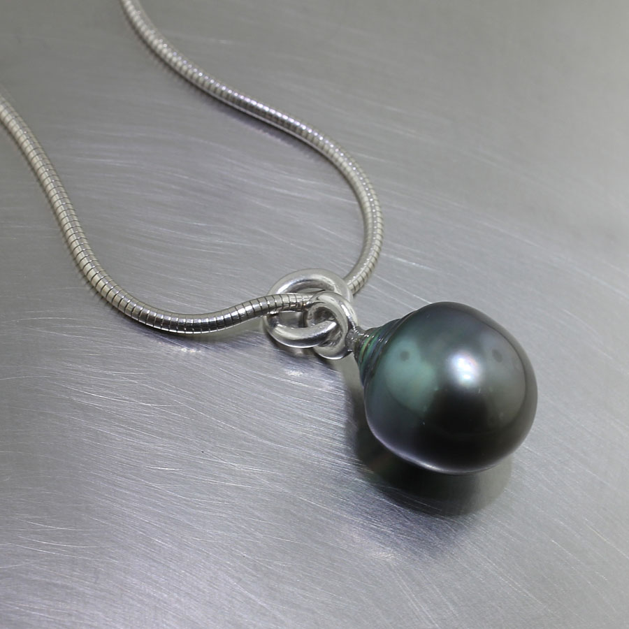 Item #24210213: Off-Round Dark Green Tahitian Pearl Pendant, 14kt White Gold Bail