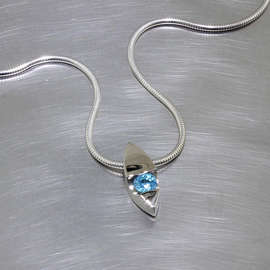 Item #23410445: Dainty Marquise-Shape Pendant w/ 1.15ct Natural Blue Zircon, 14kt White Gold