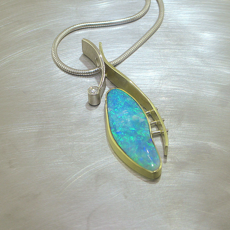 Item #26210082: Freeform Boulder Opal and Diamond Pendant