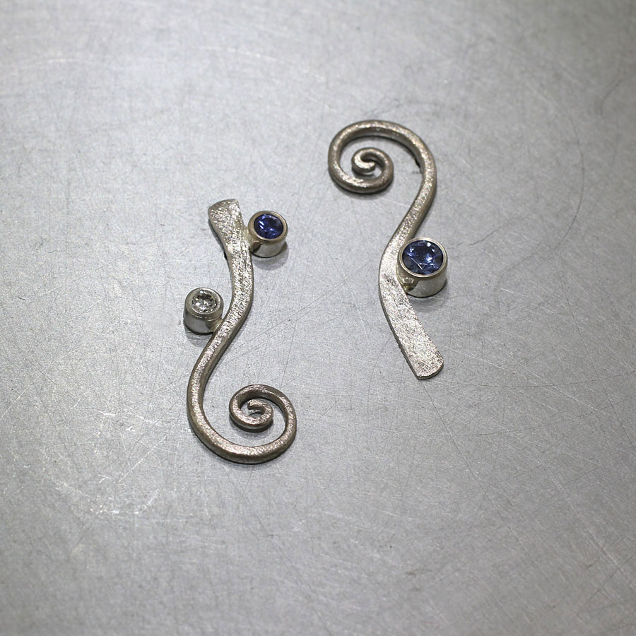 Item #22710169: Spiraling White Gold Earrings with Bezel-Set Sapphires & Diamonds