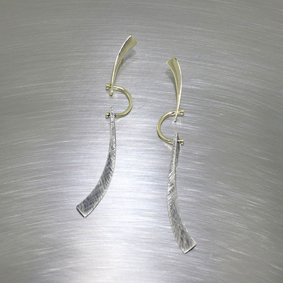 Item #28110367: Swingy Hinged Tapered Stick Earrings, 18kt Yellow Gold & Sterling Silver