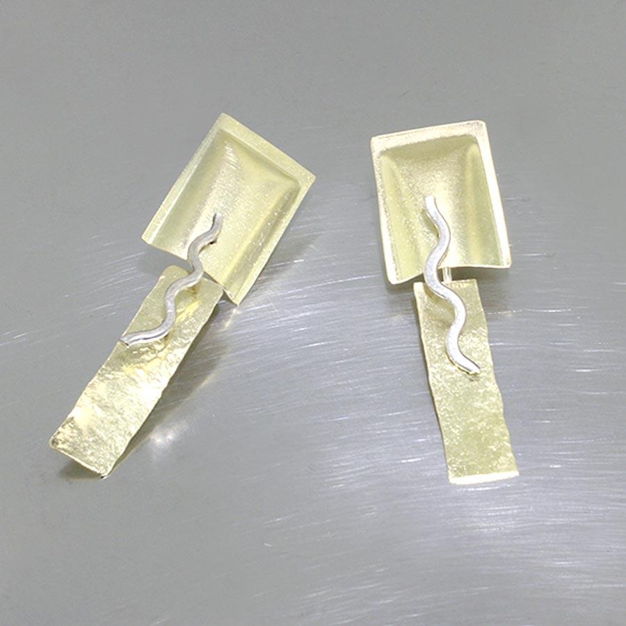 Item #28110375: Swinging Rectangular Sheet Earrings in 18kt Yellow and 14kt White Gold