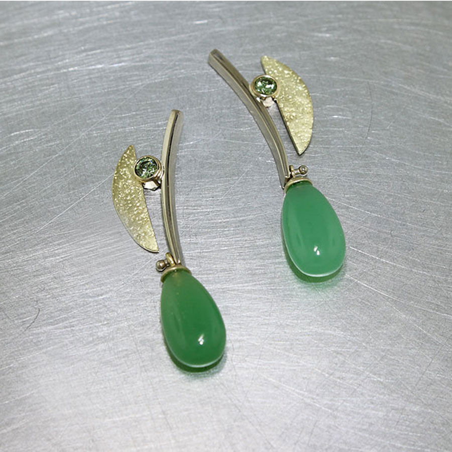 Item #23310882: Chrysoprase Cabochon and Demantoid Garnet Earrings, 18kt Yellow & 14kt White Gold
