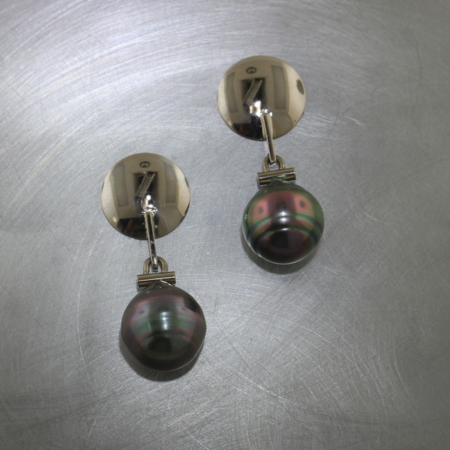 Item #24110630: Polished White Gold Disc Earrings w/ Tahitian Pearl Drops, 14kt White Gold