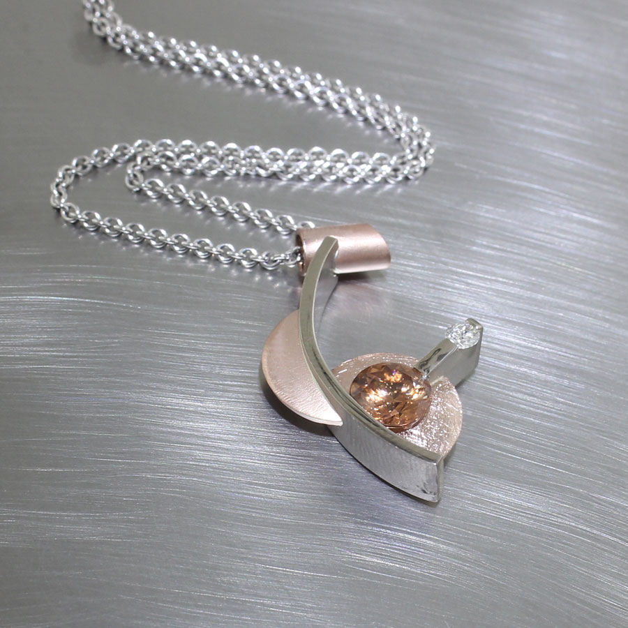 Item #23410448: Curving Geometric Pendant with Edge-set 1.89ct Brown Zircon and Diamond Accent, 14kt Rose & White Gold