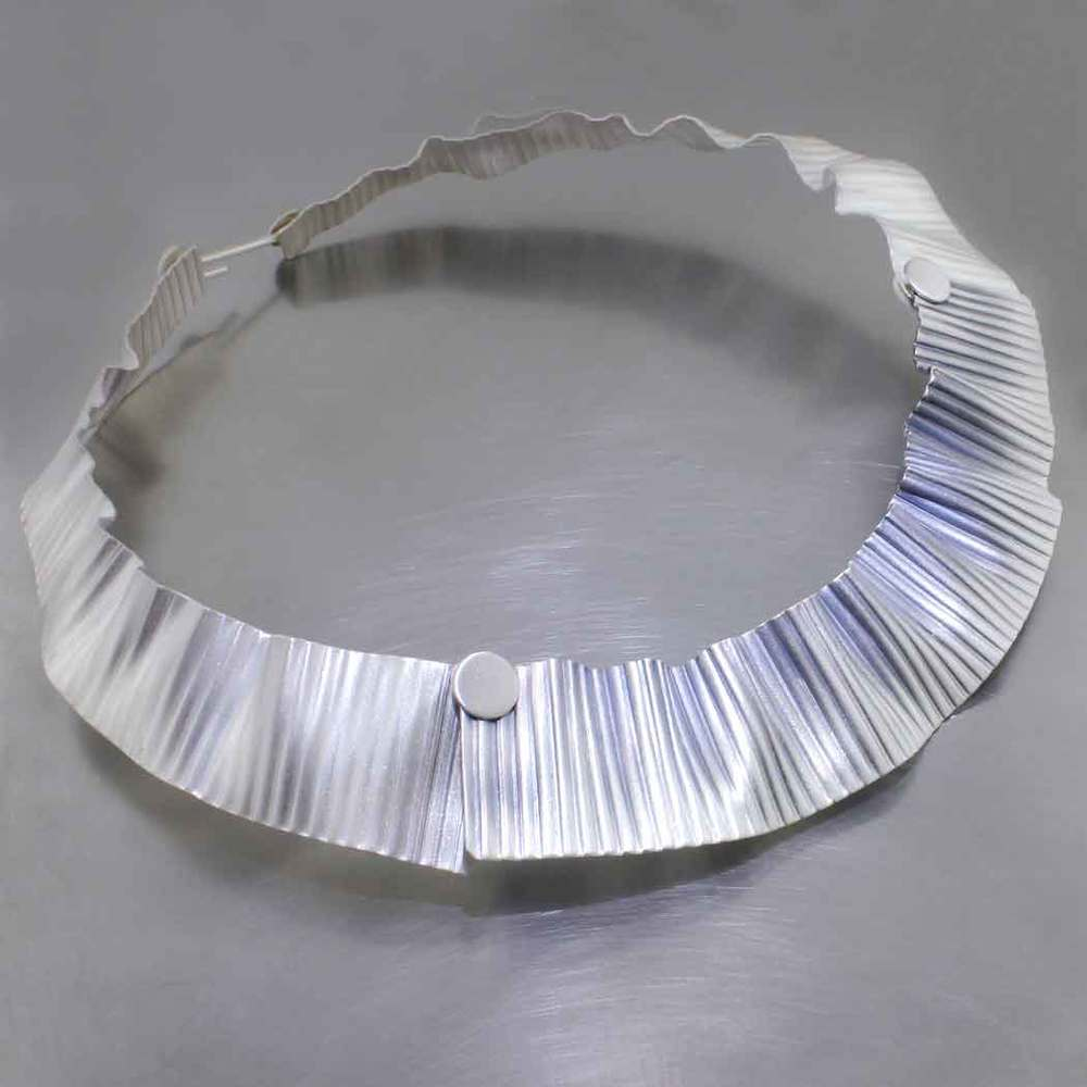 Item #28410068: Ruffled Corrugated Sheet Collar w/ Button and Hook Clasp, Fine Silver