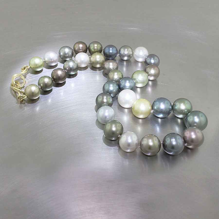 Item #24410092: Multi-Color Tahitian Pearl Strand with 18KT Yellow Gold Wrapped Wire Clasp