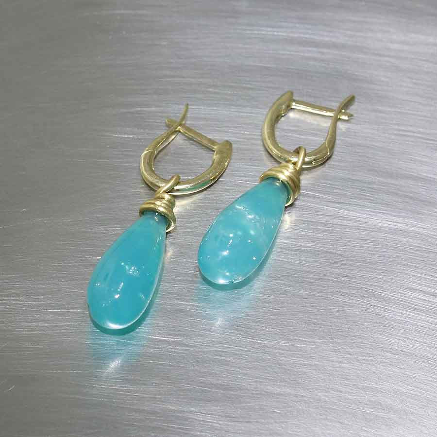 "Item #23310934: Versatile Yellow Gold ""Huggy"" Style Earrings w/ Removable Smooth Chrysocolla Briolettes"