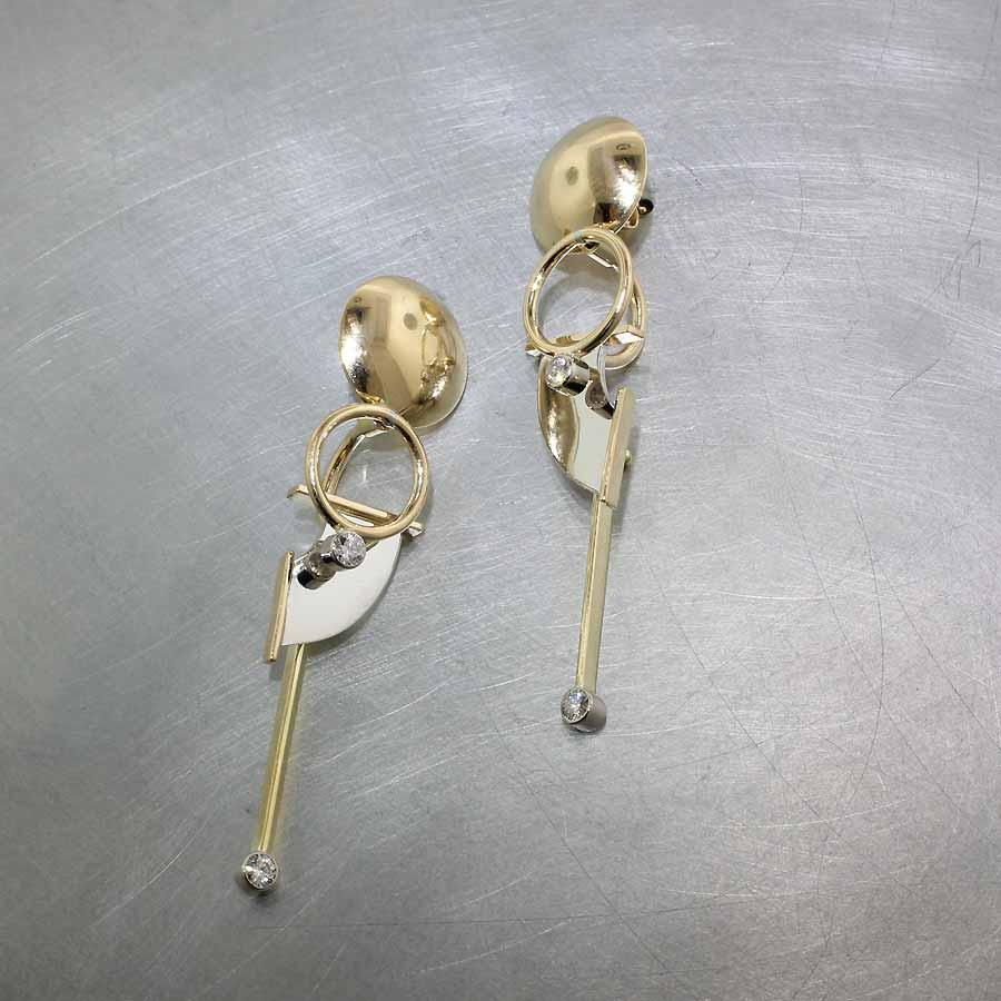 Style #22110540: Swinging Multi-Dimensional Wire & Sheet Diamond Earrings, 18KY & 14KW Gold