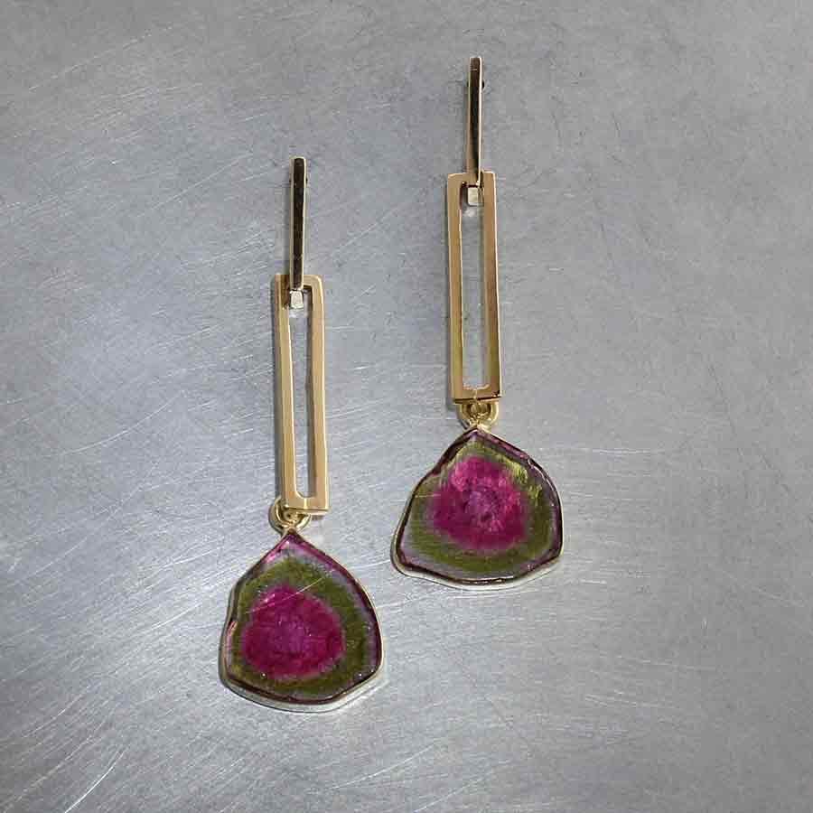 Style #23310948: Modern Dangle Earrings w/ Bezel-Set Watermelon Tourmaline Slices
