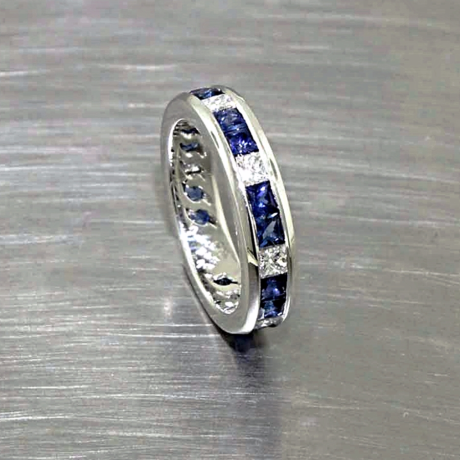 Style #11110258: Princess-Cut Sapphires & Diamonds in Channel-Set Platinum Band