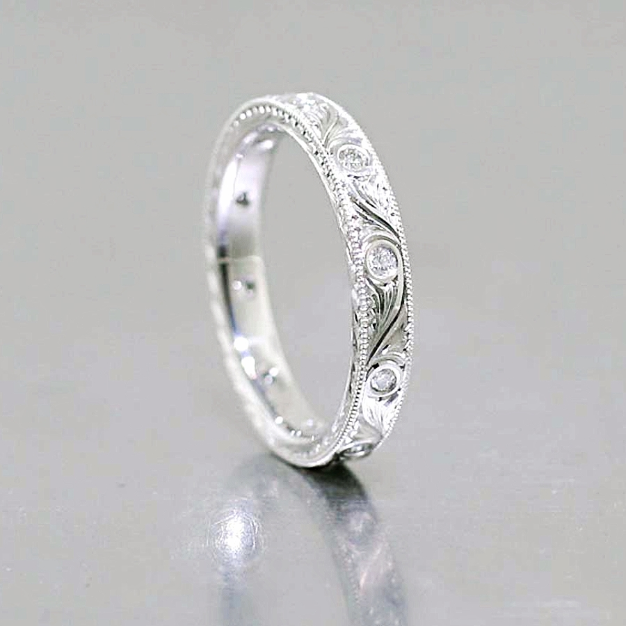 Style #11110210: Hand-Engraved Diamond Band in Platinum