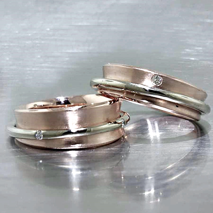 "STyle #11110254: Rose & White Gold ""Spinner"" Bands w/ Sparkling Flush-Set Diamonds"