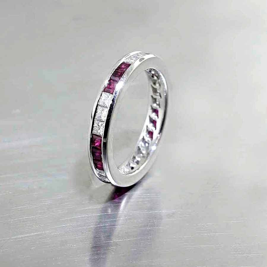 Style #21210015: Princess-Cut Ruby & Diamond Channel-Set Band in Platinum