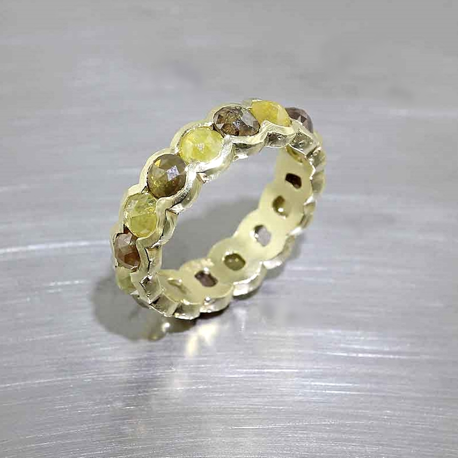 Style #22010501: Natural Yellow & Brown Rose-Cut Diamond Eternity Band in 18KY Gold