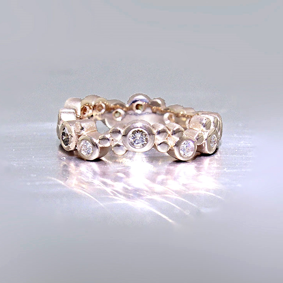 "Style #21110087: Rose Gold ""Bubble"" Ring Featuring White & Champagne Diamonds"